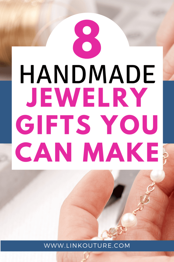 hands making jewelry behind text overal