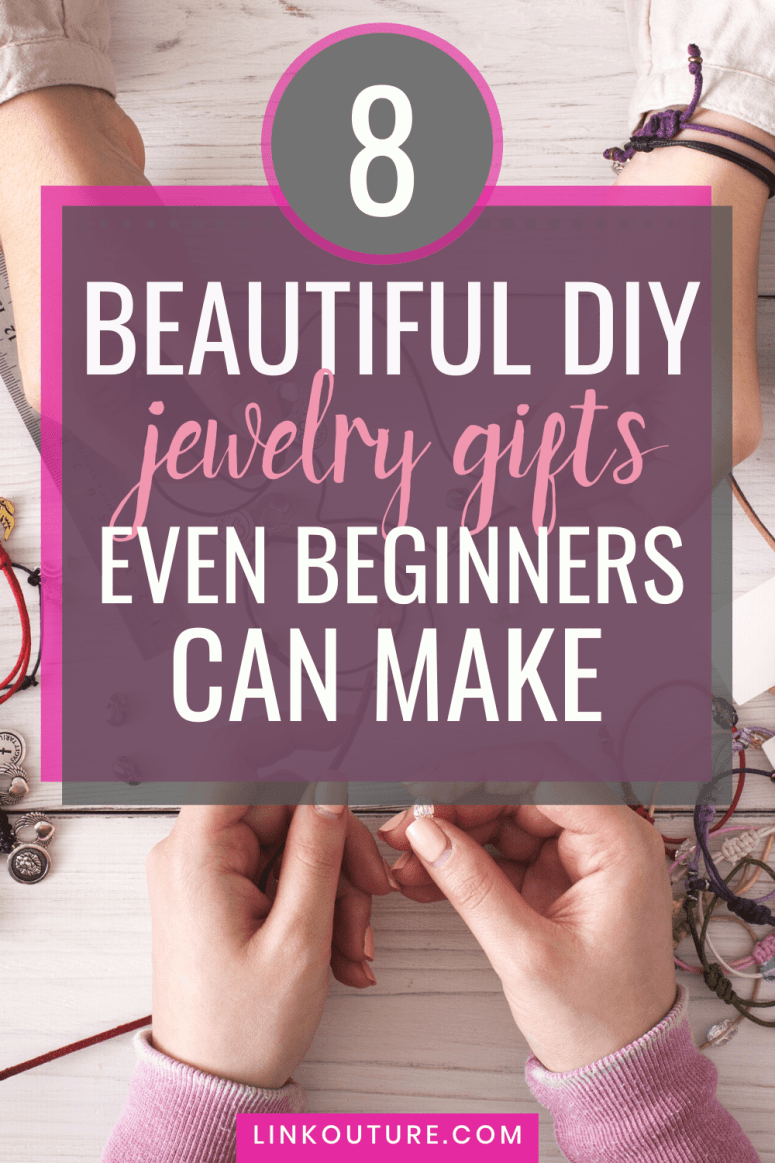 hands making jewelry behind text overlay