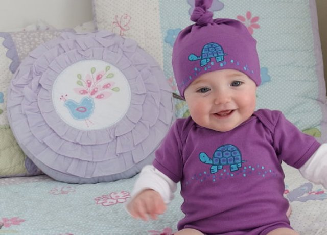 Handpainted onesie and infant cap with blue turtle by Sweetest Hue