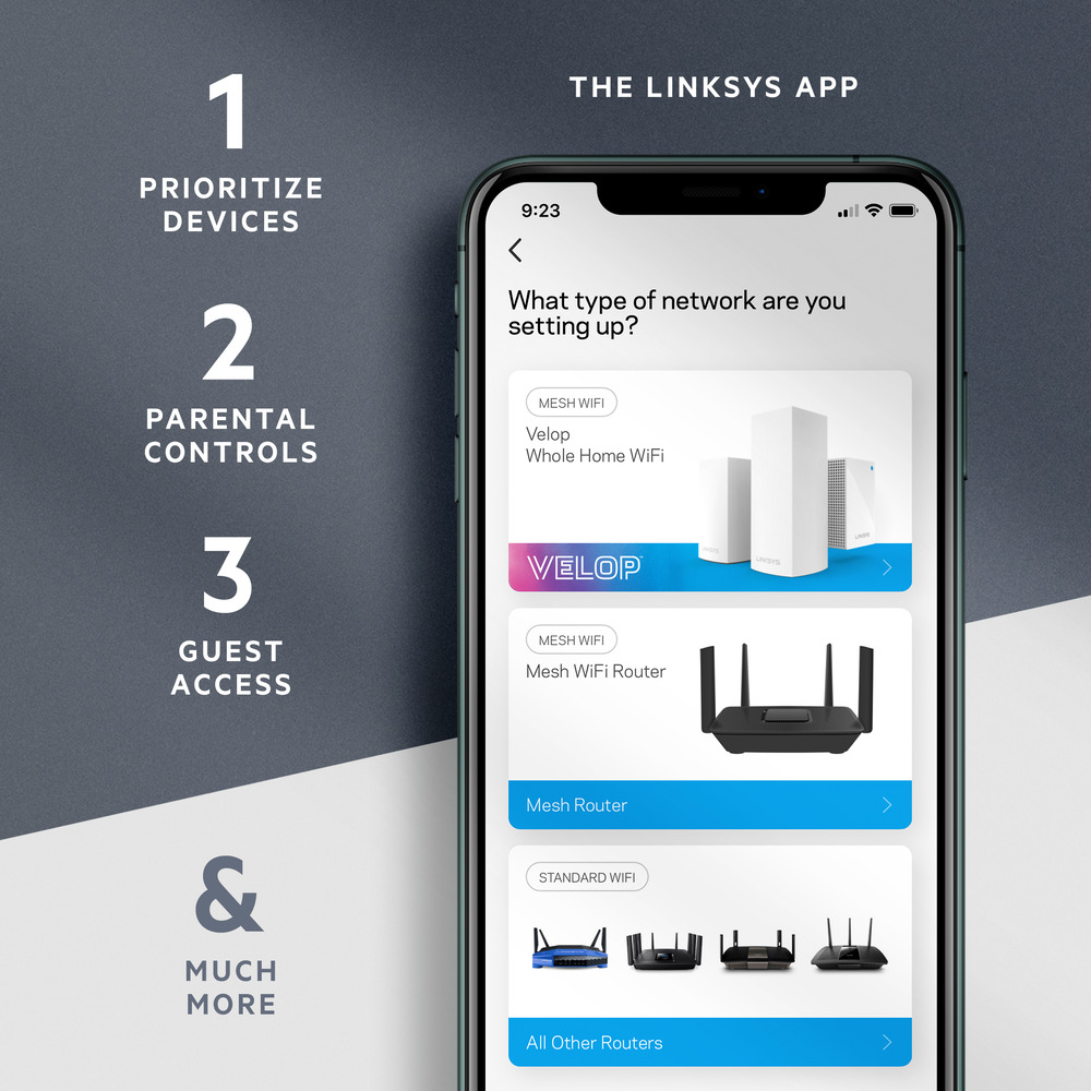 Screenshot of the Linksys App and its features