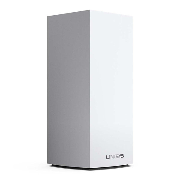 Three quarter view of the Linksys MX5300 Velop Whole Home Mesh WiFi 6 (AX) System