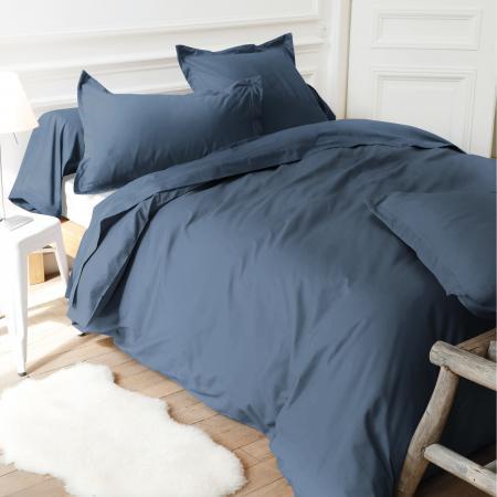 drap housse uni 90x200 cm 100 coton alto bleu jean