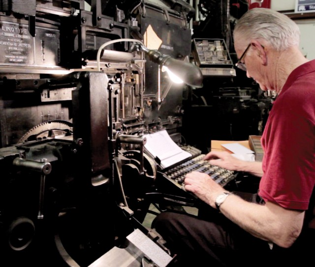 Linotype Operator Guy Trower Working At A Linotype In Springfield Missouri