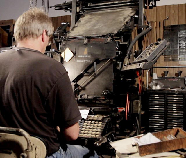 Tim Trower Running His Model 5 Linotype In Springfield Missouri