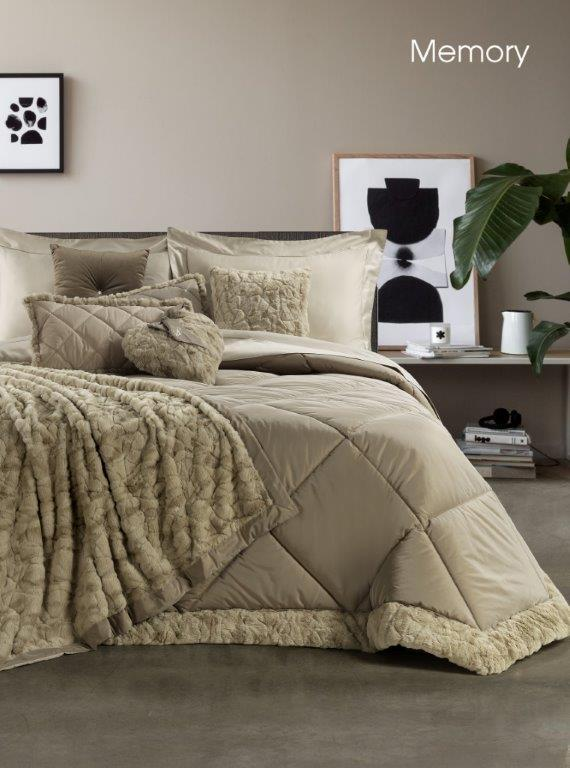 Find home decor, gifts & David Home Trapunta Matrimoniale In Taffeta Con Bordo Ecopelliccia Memory Lintea