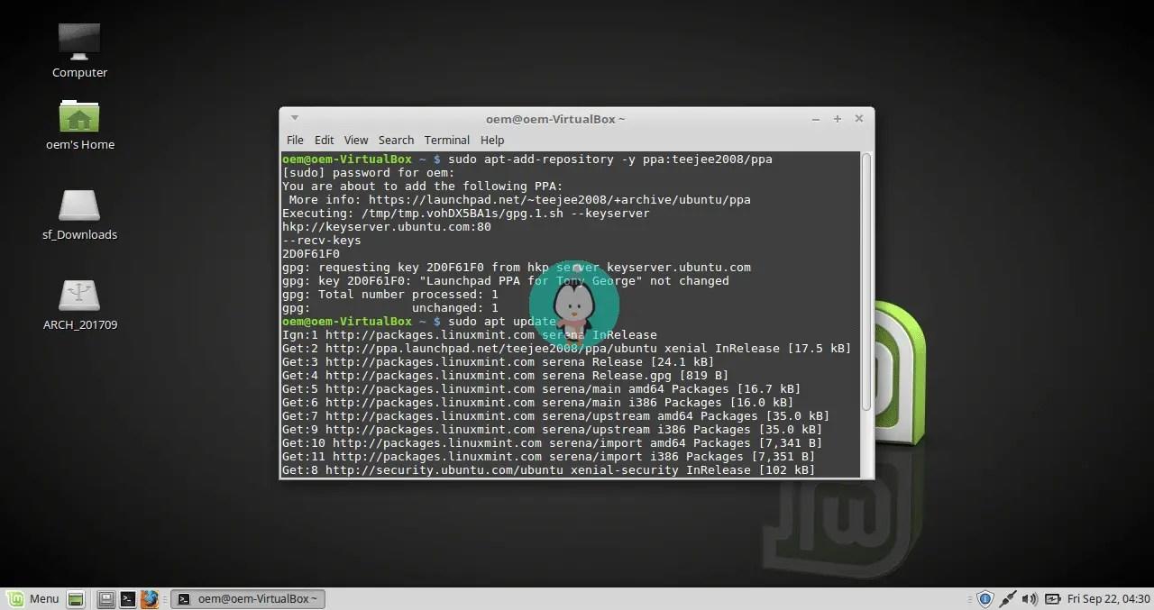 timeshift installation repository