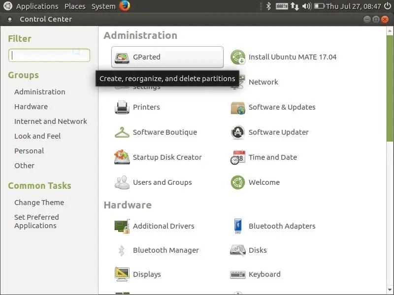 ubuntu mate control center