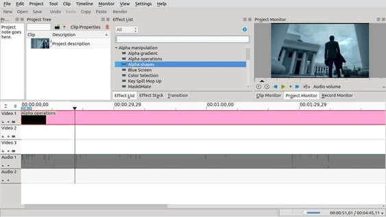Kdenlive video editor loading clips