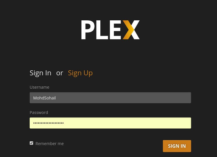 Sign in to plex media server on linux