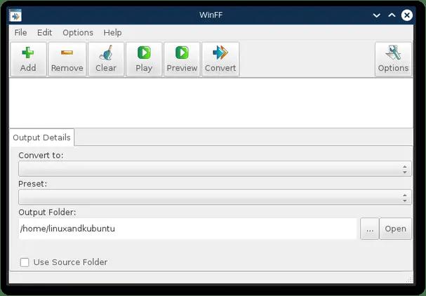 WinFF convert for linux gui ffmpeg