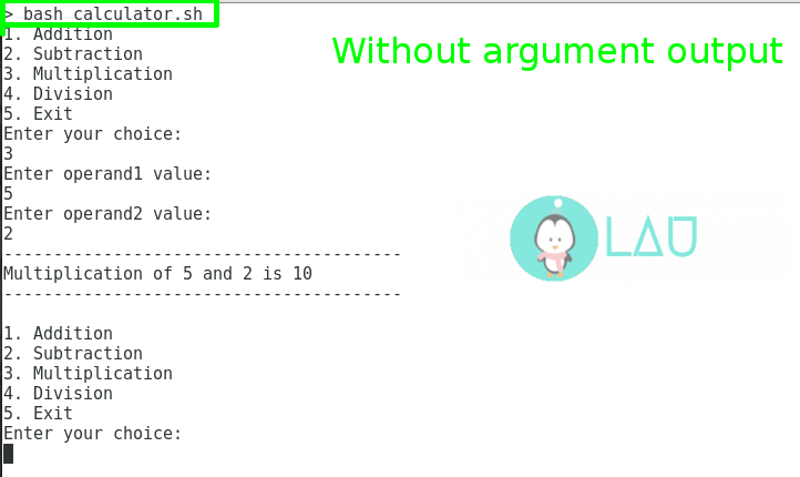 Without arguments output