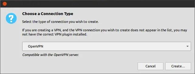 choose OpenVPN connection type