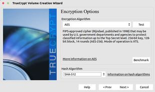 choose encryption algorithm and hash in truecrypt