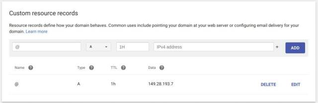 create a record google domains