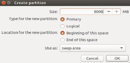 create swap partition to install ubuntu