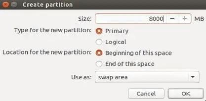 create swap partition to install ubuntu