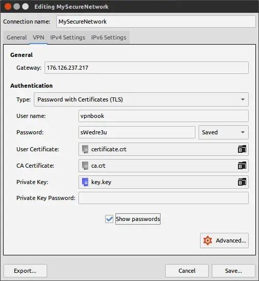 edit vpn network in linux