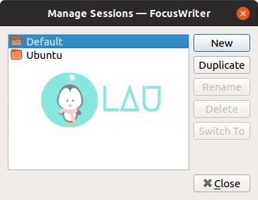 focuswriter manage sessions