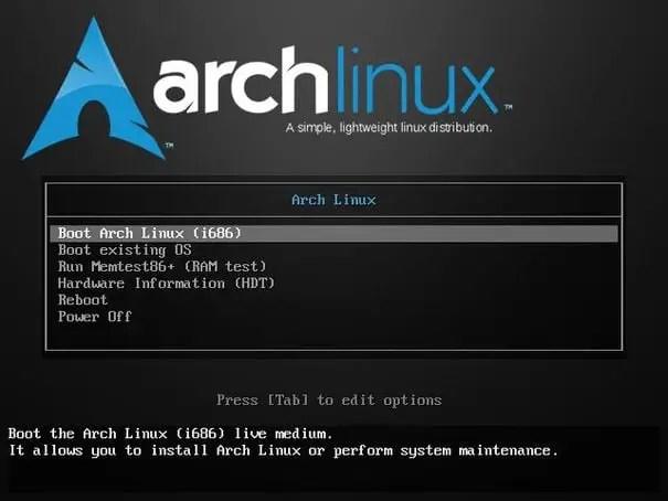 install arch linux menu