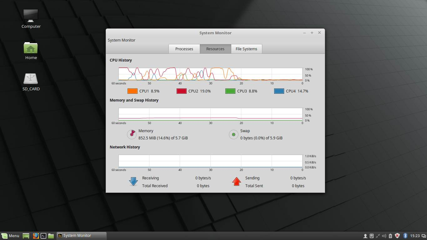 linux mint 18.2 system monitor