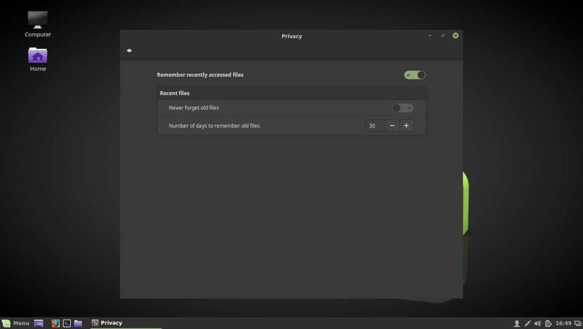 linux mint privacy panel