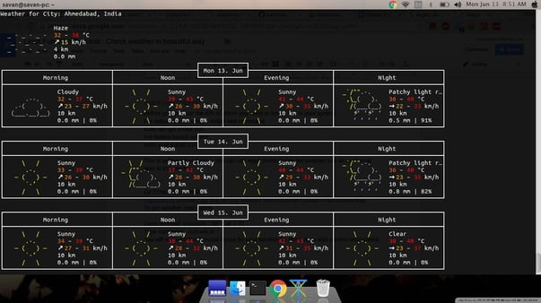 linux weather app