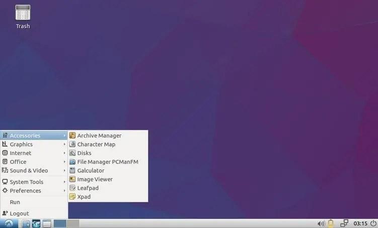 lubuntu desktop lxde application menu
