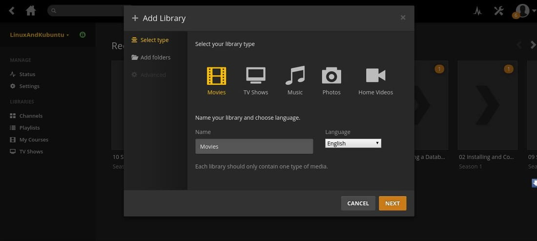 name plex media library on linux
