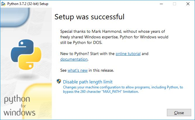 python installation completed