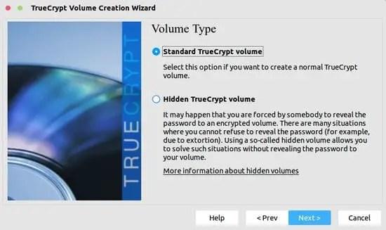 truecrypt volume type