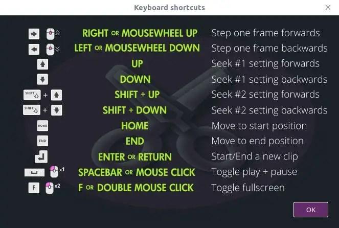 vidcutter keyboard shortcuts