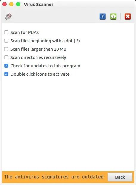 clamav virus scanner settings