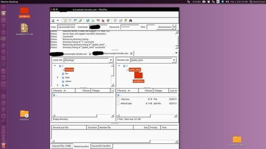 connect to host server using filezilla ftp client