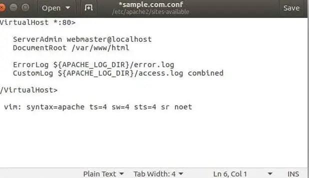 create a new apache virtualhost file