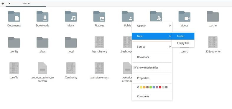 create new folder in elementary os file manager