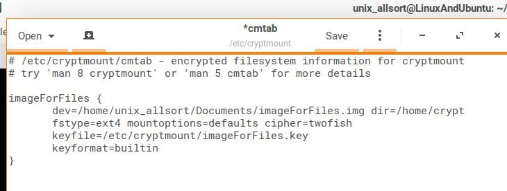 cryptmount configuartion file