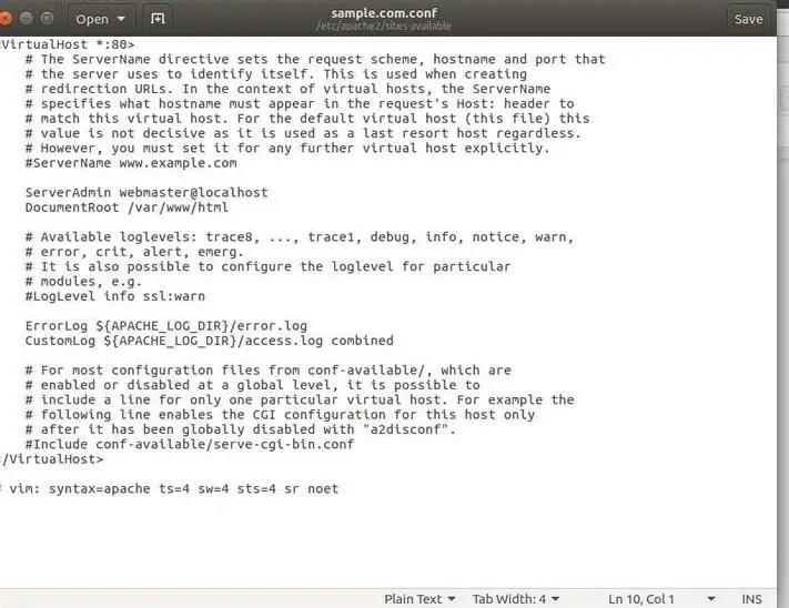 edit apache virtual host file in ubuntu