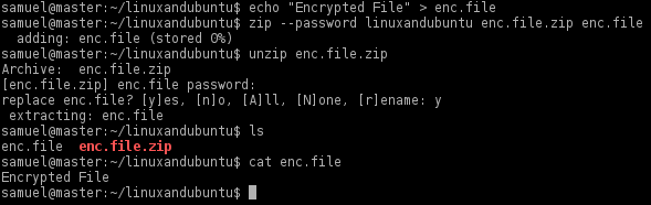 encrypt files in zip