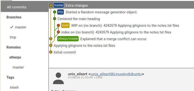 gitg commits settings