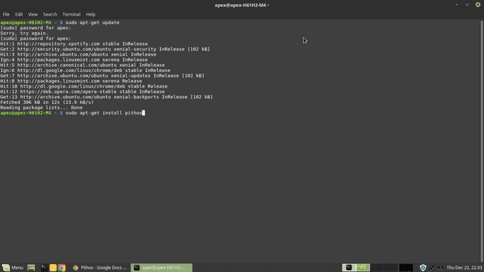 install pithos from cli