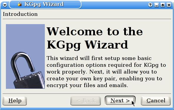 kgpg wizard in linux