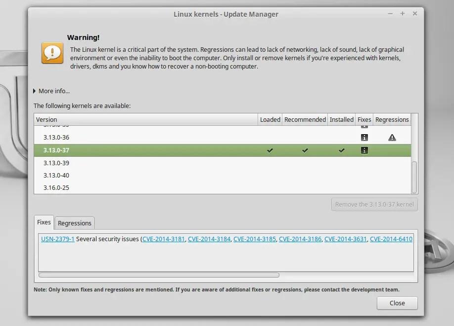 linux mint 17.1 rebeca kernels