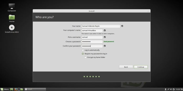 linux mint 18 fill user information