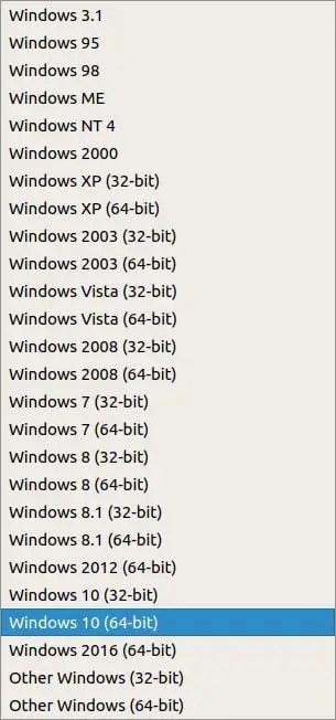 select windows version virtualbox