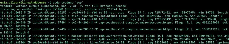 tcpdump filtering packets