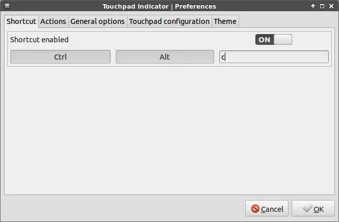 touchpad-indicator shortcut