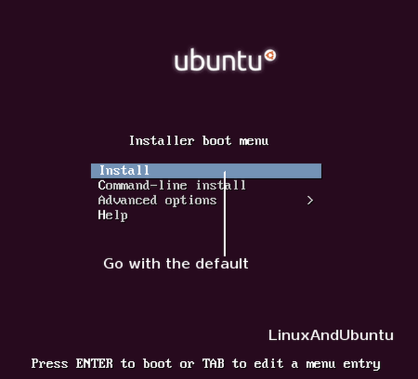 ubuntu installer boot menu