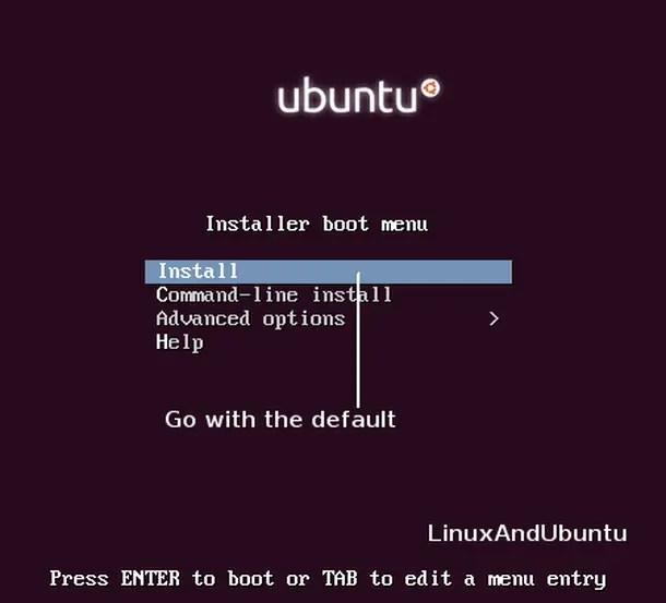 ubuntu installer boot menu