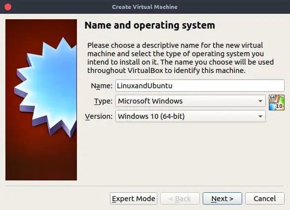 virtualbox name operating system
