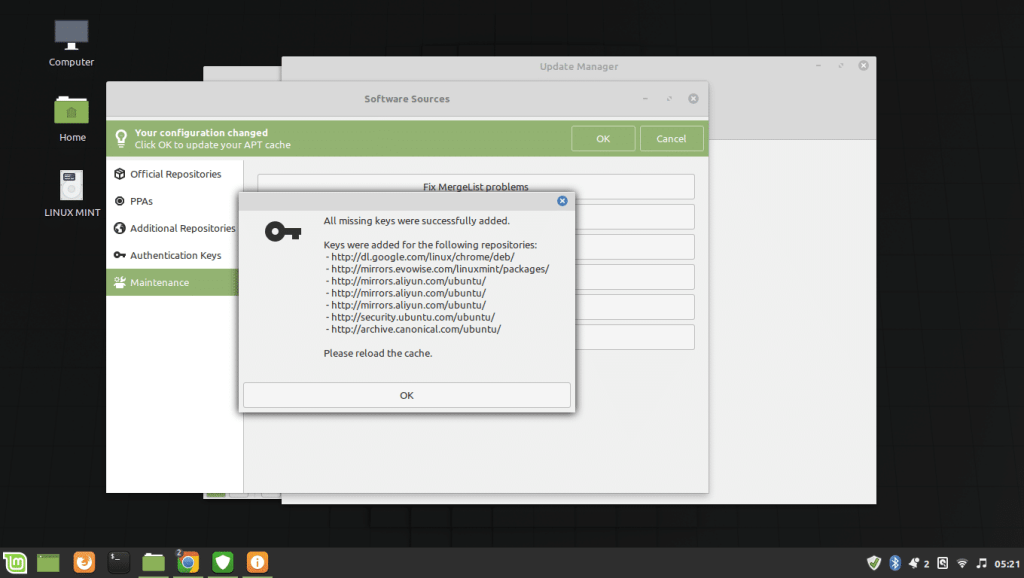 Add missing keys Linux Mint